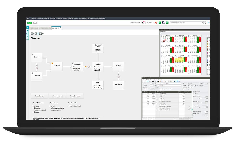 Sage 200 software, programa de contabilidad y finanzas, gestión comercial, fábrica, stocks, almacén para pequeñas y medianas empresas, software de gestión para pymes